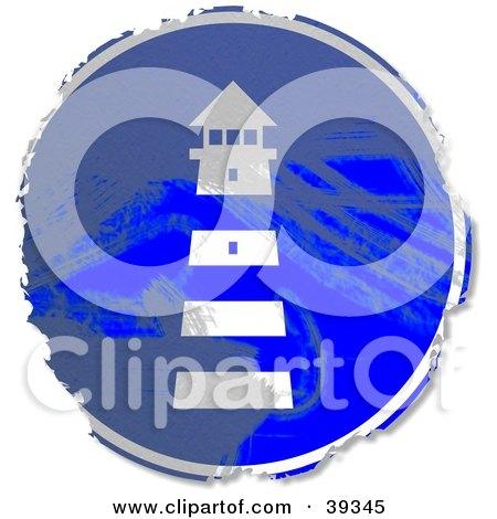 Grungy Blue Circular Lighthouse Sign Posters, Art Prints