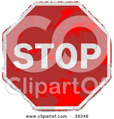 Clipart Illustration of a Grungy Red Stop Sign by Prawny