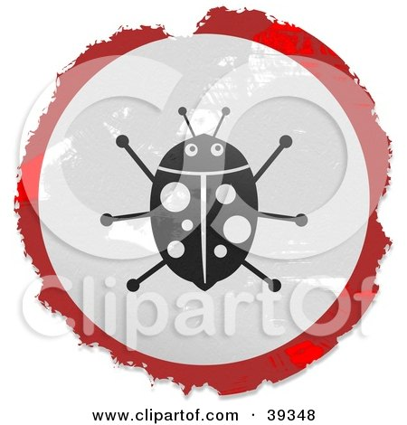 Clipart Illustration of a Grungy Red, White And Black Circular Ladybug Sign by Prawny
