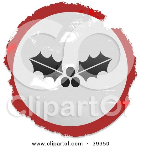 Clipart Illustration of a Grungy Red, White And Black Circular Holly Sign by Prawny