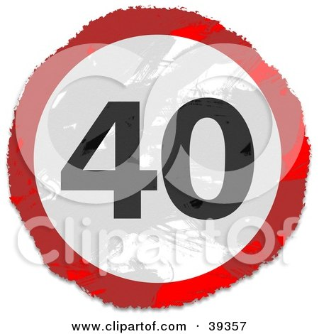 Clipart Illustration of a Grungy Red, White And Black Circular 40 Sign by Prawny