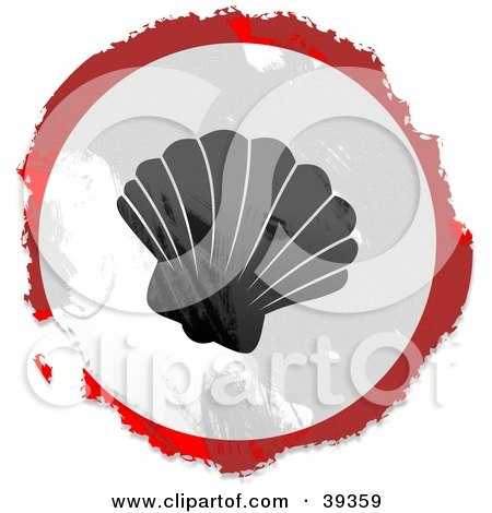 Clipart Illustration of a Grungy Red, White And Black Circular Sea Shell Sign by Prawny