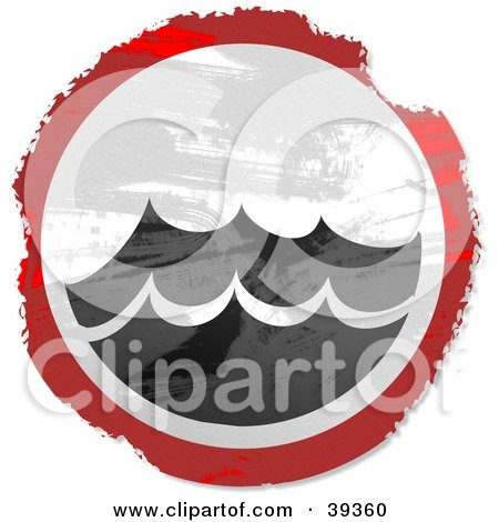 Clipart Illustration of a Grungy Red, White And Black Circular Surf Sign by Prawny