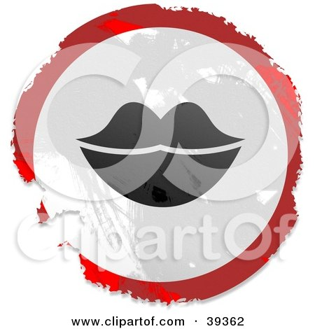Grungy Red, White And Black Circular Lips Sign Posters, Art Prints