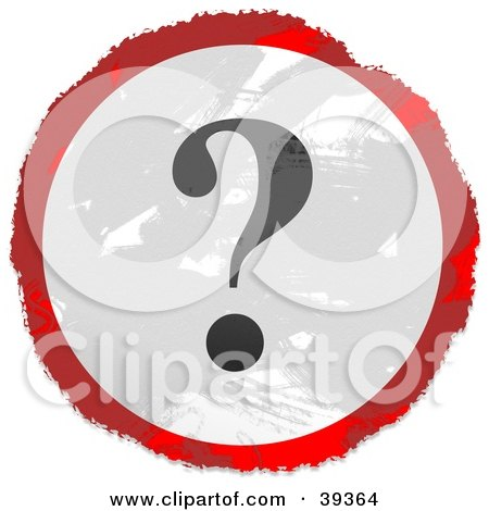 Clipart Illustration of a Grungy Red, White And Black Circular Question Mark Sign by Prawny