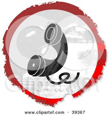 Clipart Illustration of a Grungy Red, White And Black Circular Telehone Sign by Prawny