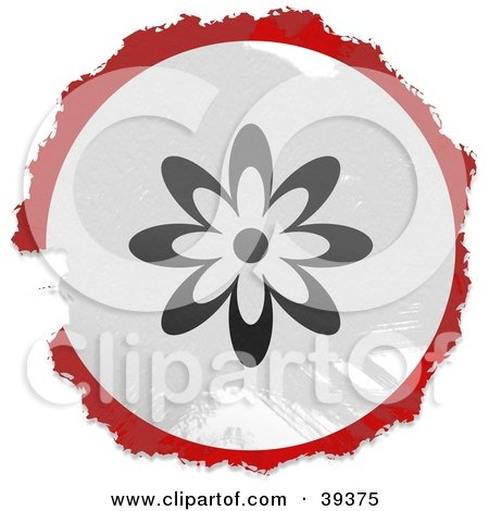 Clipart Illustration of a Grungy Red, White And Black Circular Flower Sign by Prawny