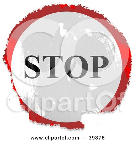 Clipart Illustration of a Grungy Red, White And Black Circular Stop Sign by Prawny