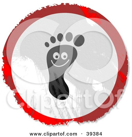 Clipart Illustration of a Grungy Red, White And Black Circular Smiling Foot Sign by Prawny