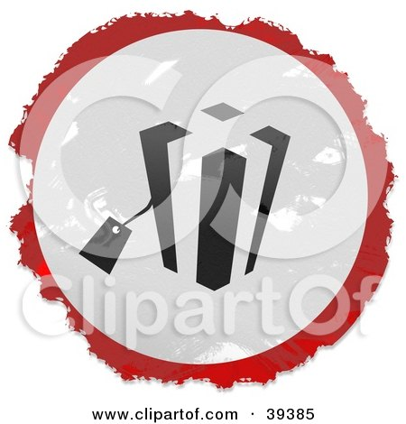 Clipart Illustration of a Grungy Red, White And Black Circular Gift Sign by Prawny