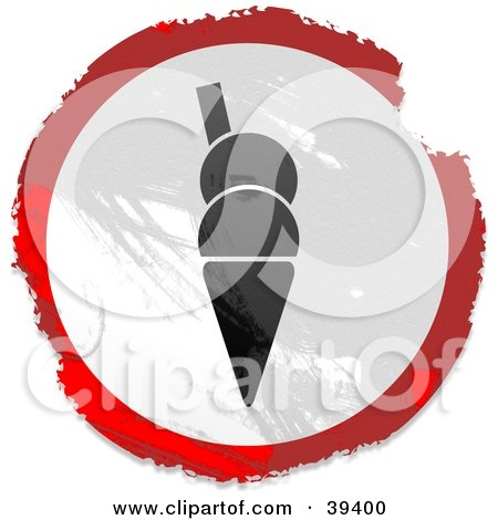 Clipart Illustration of a Grungy Red, White And Black Circular Ice Cream Cone Sign by Prawny