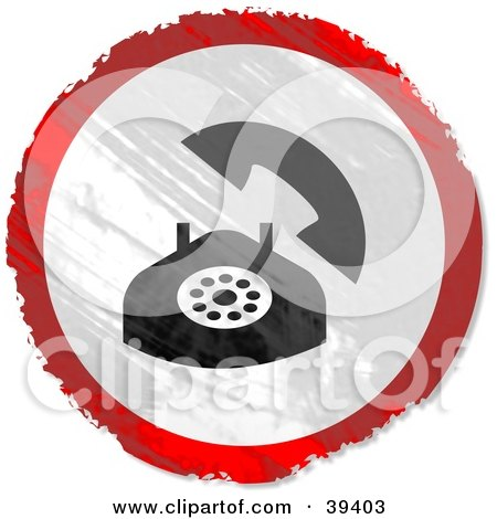 Clipart Illustration of a Grungy Red, White And Black Circular Landline Phone Sign by Prawny