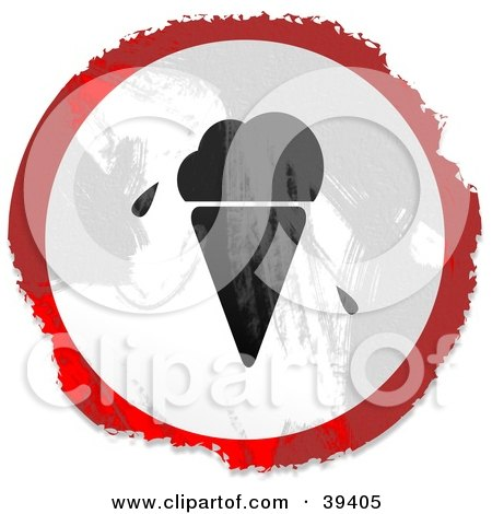 Clipart Illustration of a Grungy Red, White And Black Circular Ice Cream Sign by Prawny