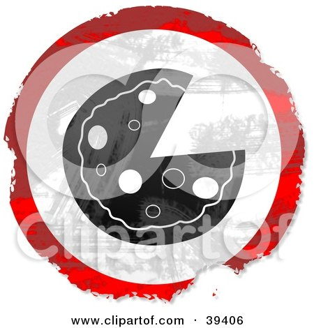 Clipart Illustration of a Grungy Red, White And Black Circular Pizza Sign by Prawny