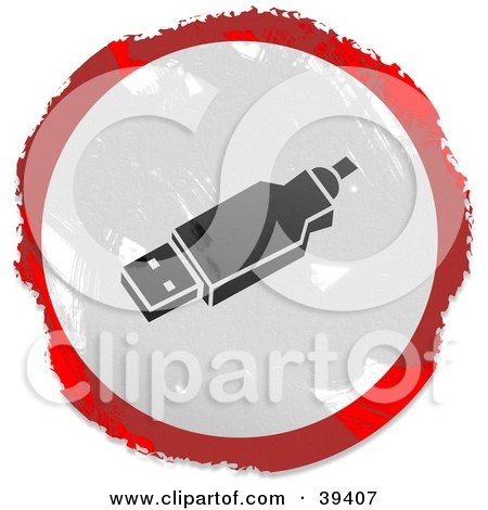 Clipart Illustration of a Grungy Red, White And Black Circular USB Sign by Prawny