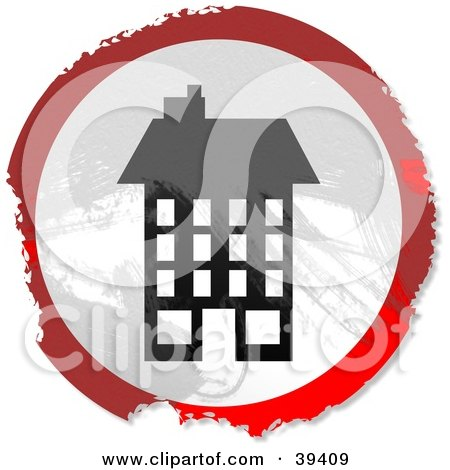 Clipart Illustration of a Grungy Red, White And Black Circular Tall Building Sign by Prawny
