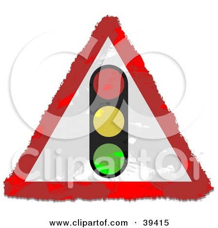 Clipart Illustration of a Grungy Triangular Traffic Light Sign by Prawny