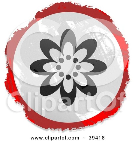 Clipart Illustration of a Grungy Red, White And Black Circular Flowering Sign by Prawny