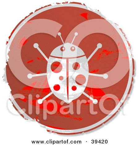 Clipart Illustration of a Grungy Red Circular Ladybug Sign by Prawny