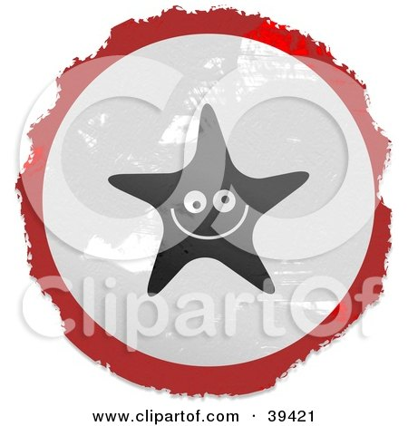 Clipart Illustration of a Grungy Red, White And Black Circular Starfish Sign by Prawny