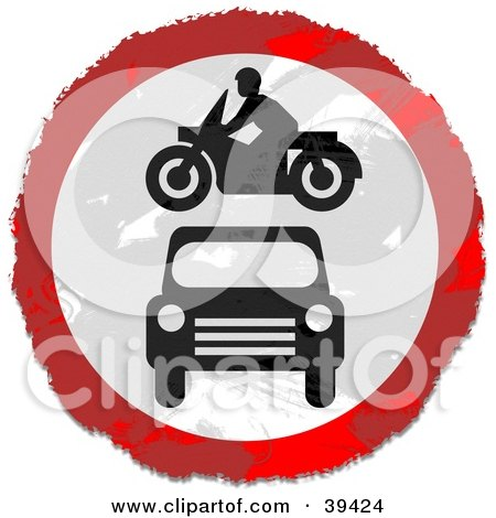 Grungy Red, White And Black Circular Car And Motorcycle Sign Posters, Art Prints