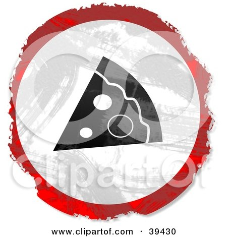 Clipart Illustration of a Grungy Red, White And Black Circular Pizza Slice Sign by Prawny