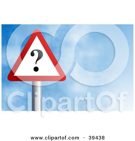 Clipart Illustration of a Red And White Triangular Question Mark Sign Against A Blue Sky With Clouds by Prawny