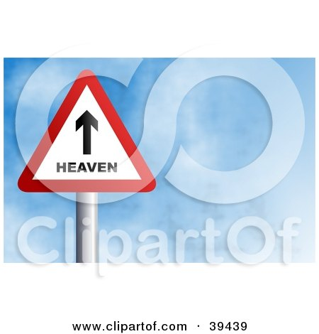 Clipart Illustration of a Red And White Heaven Triangular Sign Against A Blue Sky With Clouds by Prawny