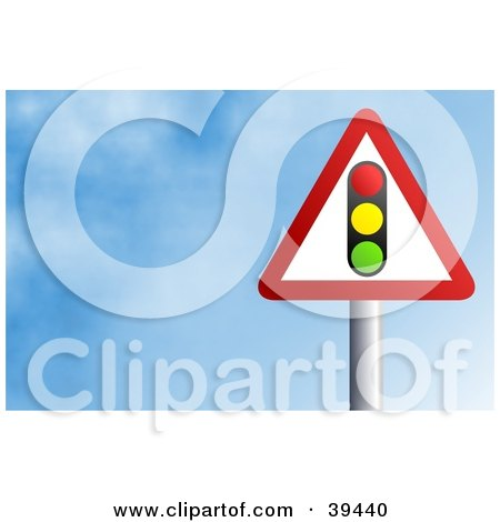 Clipart Illustration of a Red And White Triangular Street Light Sign Against A Blue Sky With Clouds by Prawny