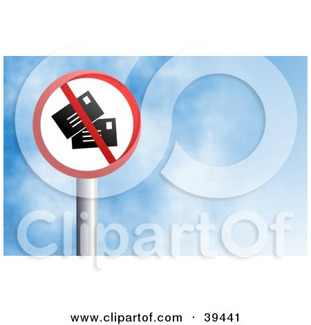 Clipart Illustration of a Red And White Circular No Mail Sign Against A Blue Sky With Clouds by Prawny