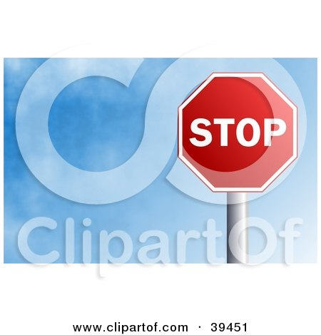Clipart Illustration of a Red Stop Sign Against A Blue Sky With Clouds by Prawny