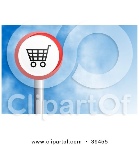 Clipart Illustration of a Red And White Circular Shopping Cart Sign Against A Blue Sky With Clouds by Prawny