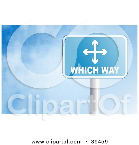Clipart Illustration of a Blue Rectangular Which Way Sign Against A Blue Sky With Clouds by Prawny