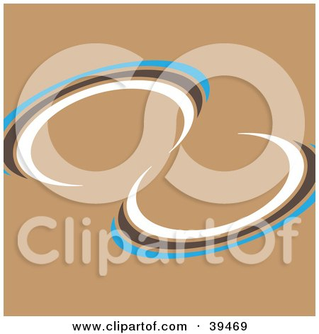 Clipart Illustration of a Blue, Brown And White Twist On A Brown Background by Arena Creative