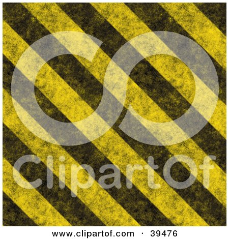 Clipart Illustration of Dirty Diagonal Yellow And Black Hazard Stripes by Arena Creative