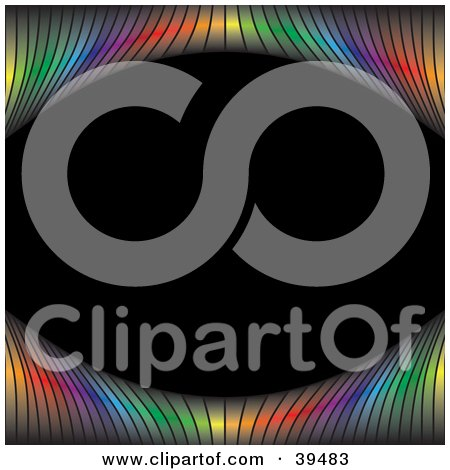 Clipart Illustration of a Rainbow Lined Frame Curving Around A Black Background by Arena Creative