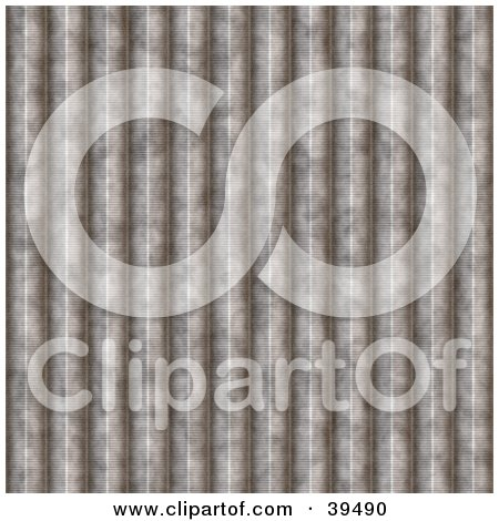 Clipart Illustration of a Grooved Corrugated Steel Background by Arena Creative