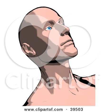 Clipart Illustration of a Thoughtful Bald Man Looking Upwards by Arena Creative