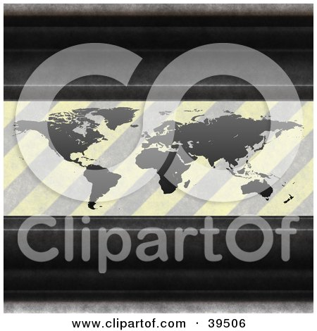 Clipart Illustration of Metal Bars Framing An Atlas With Faded Hazard Stripes, Symbolizing Pollution by Arena Creative
