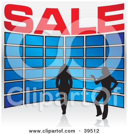 Clipart Illustration of a Silhouetted Sales Woman Assisting A Customer As She Views A Tv Display In An Electronics Store by Arena Creative