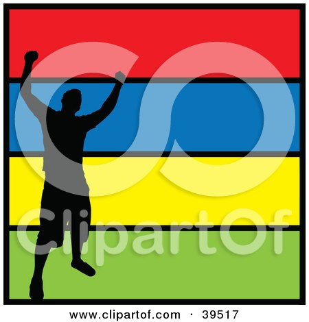 Clipart Illustration of a Black Silhouetted Victorious Man Celebrating, On A Colorful Background Trimmed In Black by Arena Creative