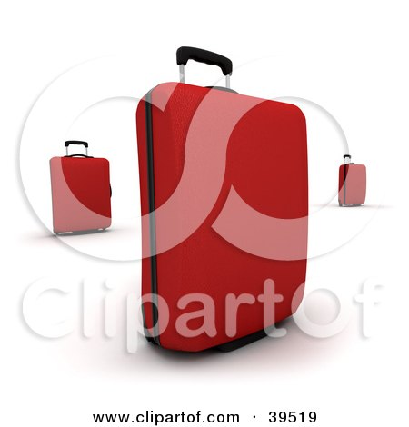 Clipart Illustration of Three Red Rolling Suitcases by Frank Boston