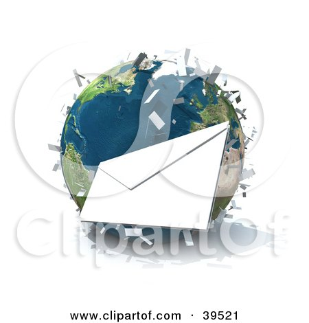 Clipart Illustration of International Mail Being Delivered All Over Planet Earth by Frank Boston