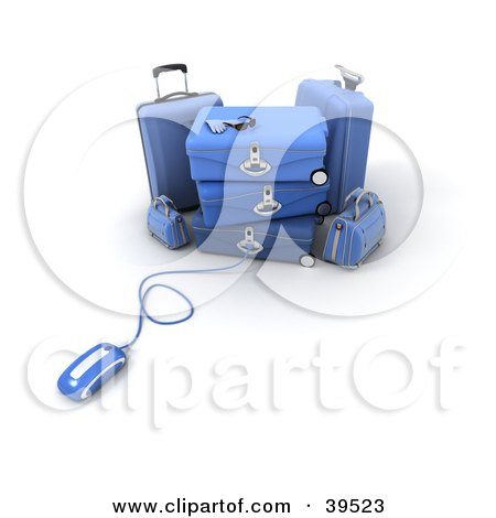 Clipart Illustration of a Computer Mouse Connected To Blue Baggage by Frank Boston