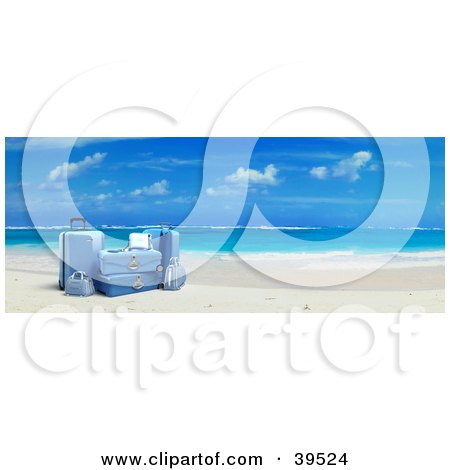 Clipart Illustration of Blue Suitcases On White Sands Of A Tropical Beach by Frank Boston