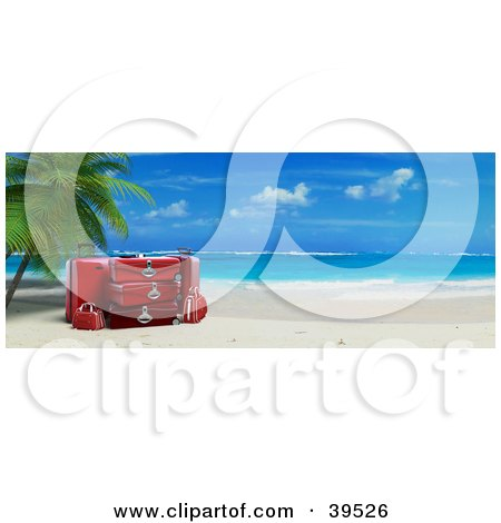 Clipart Illustration of Red Luggage Resting Under A Palm Tree On A Tropical Beach With White Sands And Blue Skies by Frank Boston