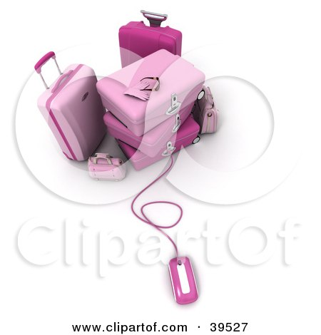 Clipart Illustration of a Computer Mouse Connected To Pink Suitcases by Frank Boston