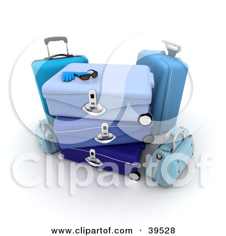 Clipart Illustration of Sunglasses And Gloves Resting On Top Of Blue Luggage by Frank Boston