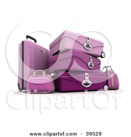 Clipart Illustration of Stacked Pink Suitcases by Frank Boston