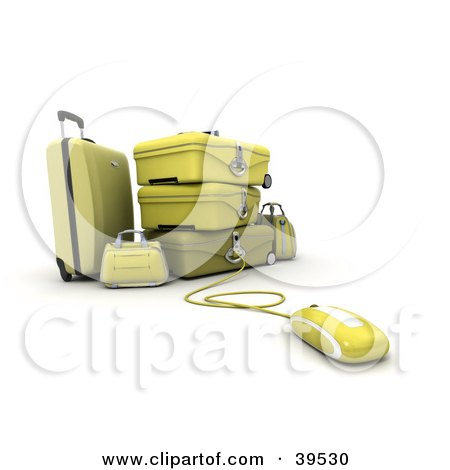Clipart Illustration of a Computer Mouse Connected To Yellow Suitcases by Frank Boston